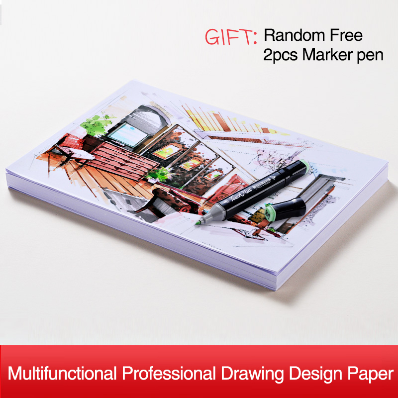 A4 Marker Paper 160GMS 100Sheets Engineering Drawing Sketch Paper Notebook For Design Colored Pencil Watercolors Art Supplies kitpac101058pacp6409 value kit pacon peacock sulphite construction paper pacp6409 and pacon array colored bond paper pac101058