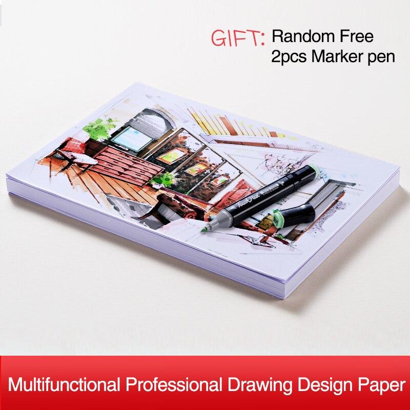 A4 papier marqueur 160GMS 100 feuilles dessin d'ingénierie croquis papier cahier pour Design crayon de couleur aquarelles fournitures d'art
