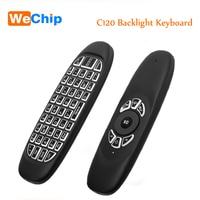 Fly Air Mouse C120 Подсветка Беспроводной игры Клавиатура Перезаряжаемые 2.4 ГГц универсальный Смарт пульта дистанционного для Android TV Box PC