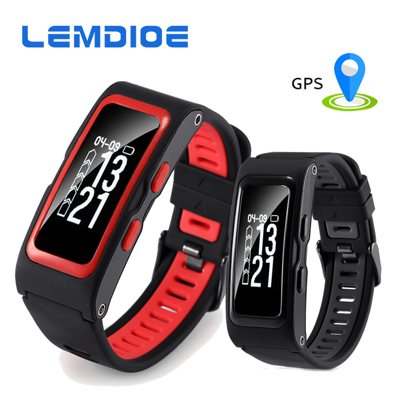 LEMDIOE Fitness Tracker Smart Band 2 Heart Rate Smart Wristband with Independent GPS trajectory Temperature Altitude