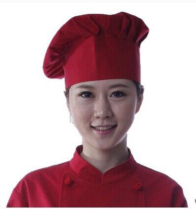 Hot-selling cook cap mushroom chef hat solid color work hat pleated custoary skullies
