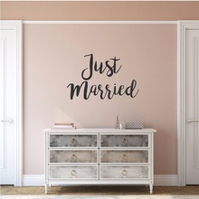 Wedding Design Wall Decal Just Married Wall Vinyl Sticker Home Decoration Removable Just Married Sign Wall Window Mural AY1407 стоимость