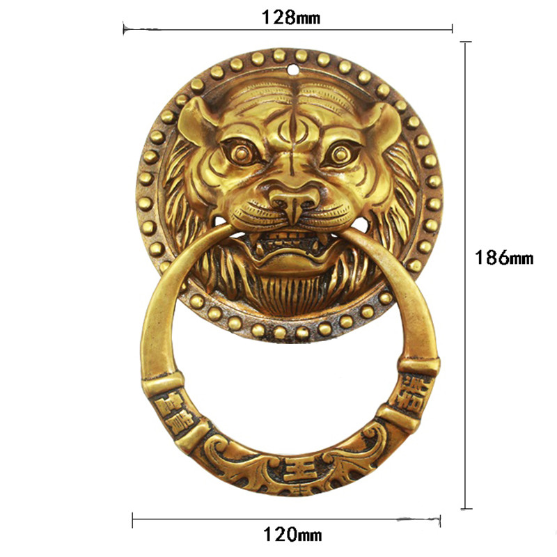 Brass Chinese Vintage Lion Head Furniture Door Pull Handle,128*186mm