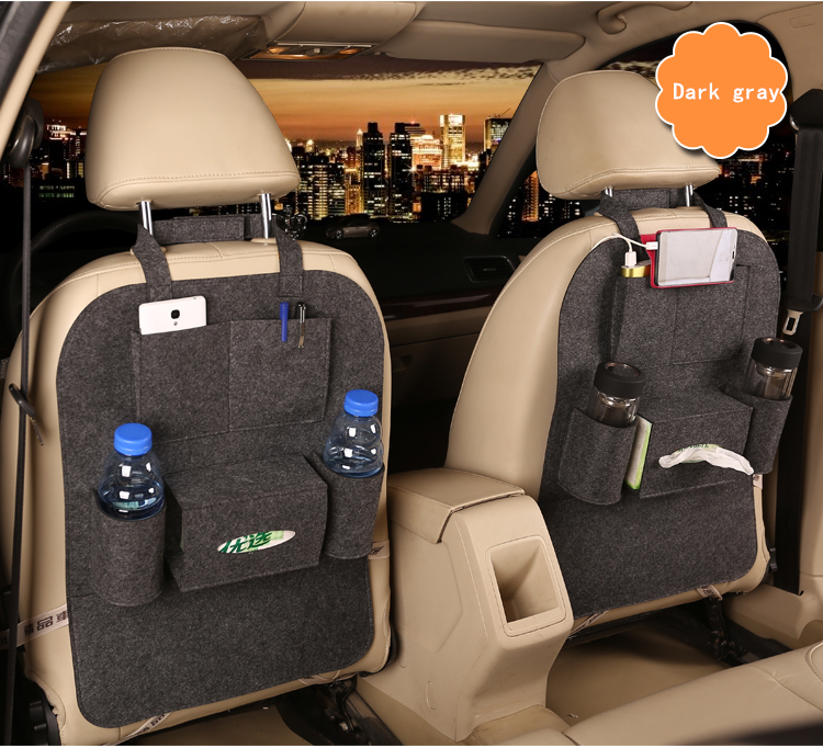 Stowing Tidying dark gray Multi Pocket Felt Car Styling ...