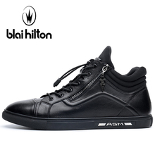 Blaibilton High Top Skateboard Shoes For Men Genuine Leather Men Sneakers Thermal Breathable Elastic band Sport Shoes Man Brand