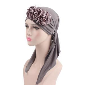 Image 5 - 2018 Muslim Women Flower Cap Cancer Hat Long Tail Cap Hair Loss Head Scarf Turban