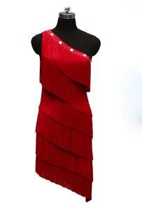 Image 3 - Женское платье для латиноамериканских соревнований, танцевальное платье с одним открытым плечом в европейском стиле, юбка с бахромой для латиноамериканских соревнований, новинка 2021