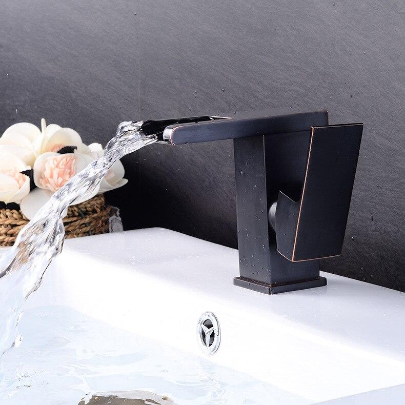 Черный Медь умывальник водопад краны европейский и американский Ванная комната горячей и холодной одной коснитесь Кухня кран slt25