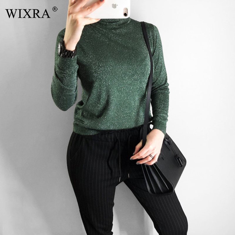 Wixra Women Winter Spring All Base Match Turtleneck Sweater Slim Elasticity Pullovers Solid Color Womens Clothing