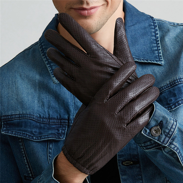 Genuine Leather Gloves Men Winter Touch Screen Sheepskin Gloves Breathable Mesh Driving Short Paragraph Thin Warm BJ004-5