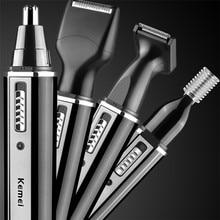 Новинка, KM-6630, 4 в 1, профессиональный электрический перезаряжаемый триммер для волос в носу и ушах, триммер для волос для лица, триммер для волос с ушками для мужчин