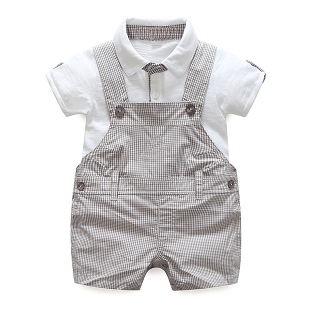 c1821671fc48 2pcs baby clothes Newborn Toddler White Grey Baby Boy Solid T-shirt Tops  Plaid Overall Children summer Outfits Set Clothes 3-12M