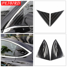 Outside Front + Rear Pillar A Post Triangle Cover Kit Interior Mouldings Fit For Tesla Model 3 2018 2019 Carbon Fiber ABS carbon fiber drawing rear seat reading light cover abs decoration strips for tesla model 3 2018 2019 interior roof lamp frames
