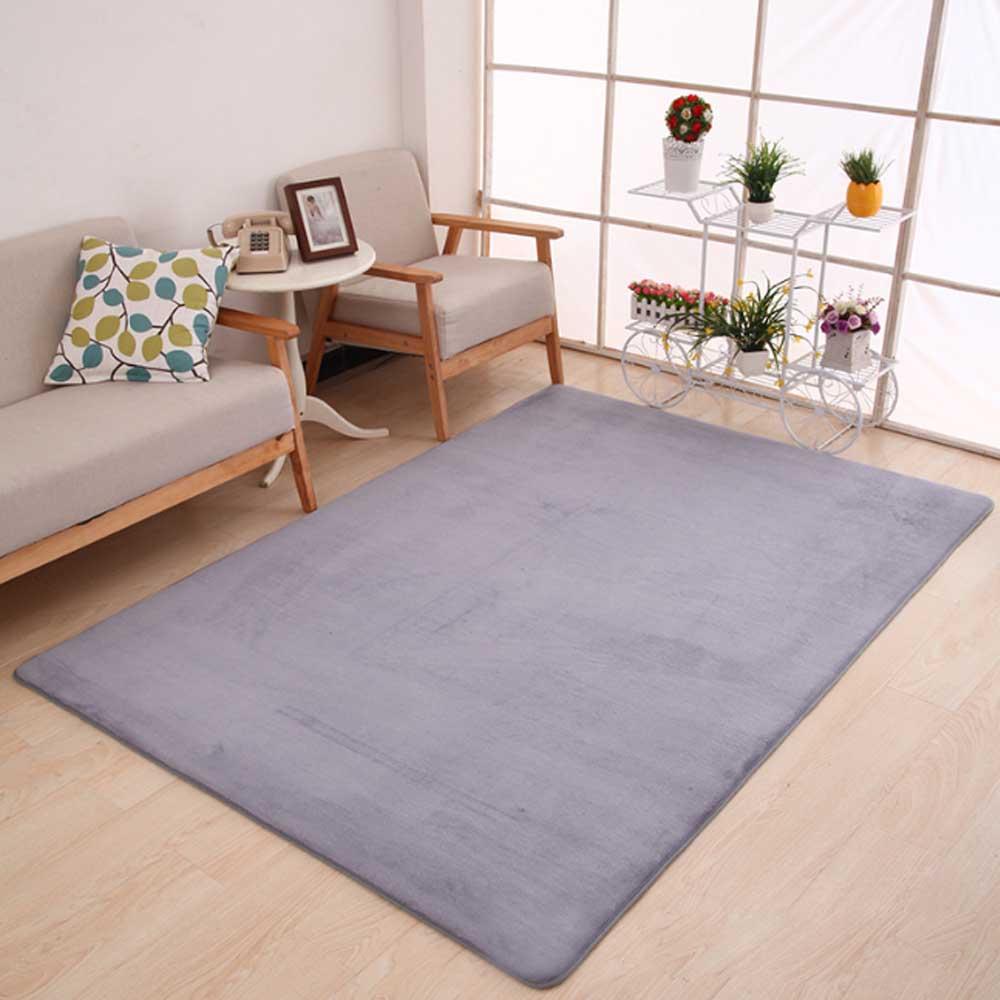 Коврик из полиэфирного волокна кораллового бархата для спальни, гостиной, мягкое украшение для дома, чайный стол, стулья, коврик для пола, нескользящая прихожая - Цвет: Gray