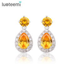 LUOTEEMI Luxurious Cubic Zirconia Earrings Crystal Water Drop Zircon with Tiny CZ Around Elegant Bridal Wedding Earrings Jewelry