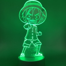 Night Light Lamp ONE PIECE Monkey D. Luffy Straw Hat Pirates Crew The Japanese Anime Best Gift for Children 3D Lamp Multicolor цены онлайн