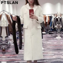 Ptslan Women Alpca Sheep Fur Coat Fashion Women Wool Coat Mink fur collar Long Sheep fur Beautiful Women's Coat