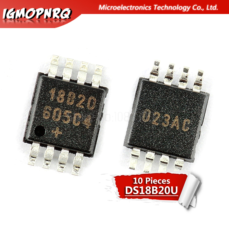 10pcs New DS18B20U <font><b>DS18B20</b></font> 18B20 MSOP-8 Programmable Resolution 1-Wire Digital Thermometer IC image