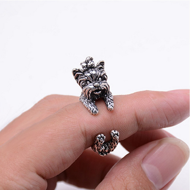 New Fashion 3 color Vintage Antique Poodle Chic Dog open size Ring Cute Animal R
