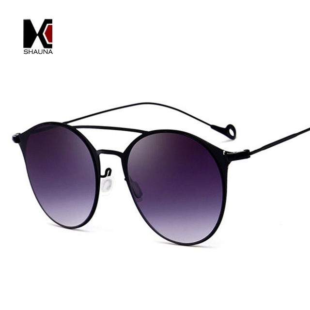 SHAUNA Moda Peso Leve Pontes Duplas Mulheres Rodada Óculos De Sol Retro  Homens Gradiente Óculos de aa25645b70