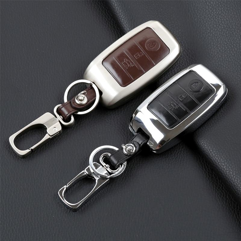 Zinc alloy+Leather Car Key Fob Cover Case For Kia Rio K2 Sportage 2017 Optima K5 Ceed Sorento Soul Cerato K3 Forte Accessories