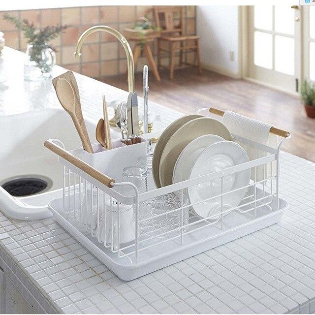 Japonês prato de drenagem rack de cozinha de ferro forjado prateleiras de drenagem rack de talheres de drenagem da bandeja de armazenamento seco caixa de lavar louça