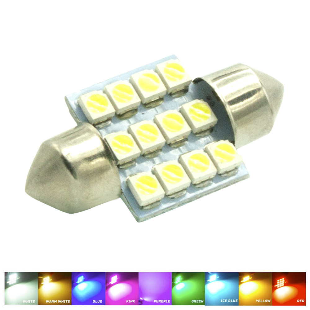 31mm 3528 1210 Smd 12 Led Car Auto Festoon Dome Interior Map Lights Bulb Lamp For Dc 12v Blue