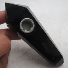 95g High Quality 100% Natural Obsidian Point Wand Crystal Smoking Pipe Cigarette Holder Reiki Healing Treatment pechoin 95g