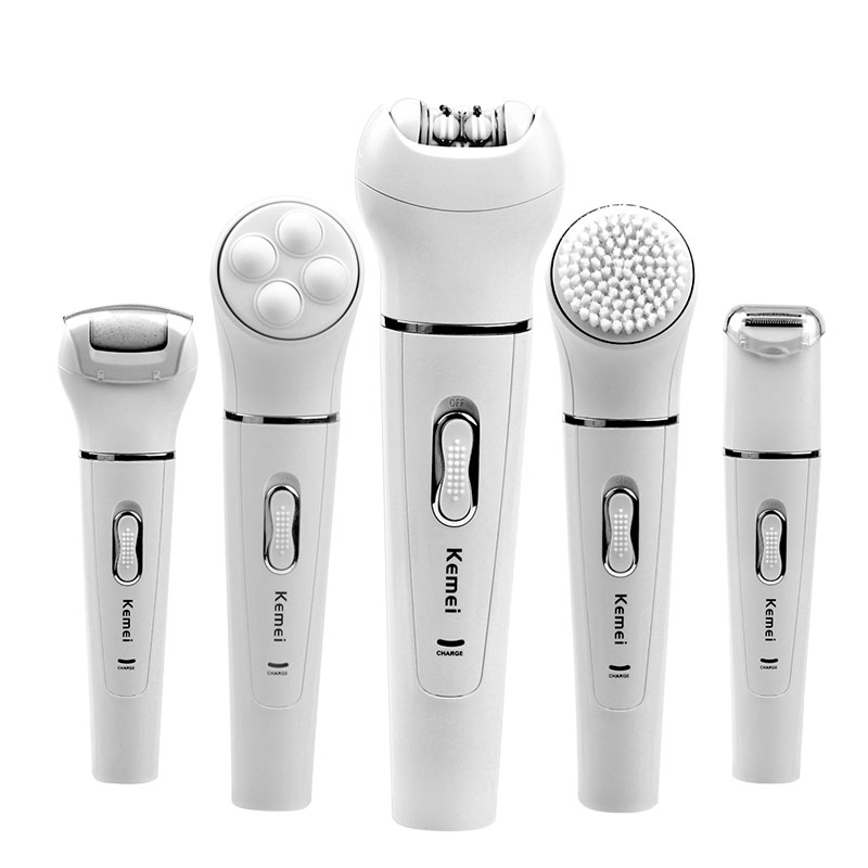Kemei Rechargeable Facial Deep Cleaning Cleanser Skin Care Massage BrushLady Hair Removal Depilatory Shaver Epilator Massager rechargeable facial massage cleanser