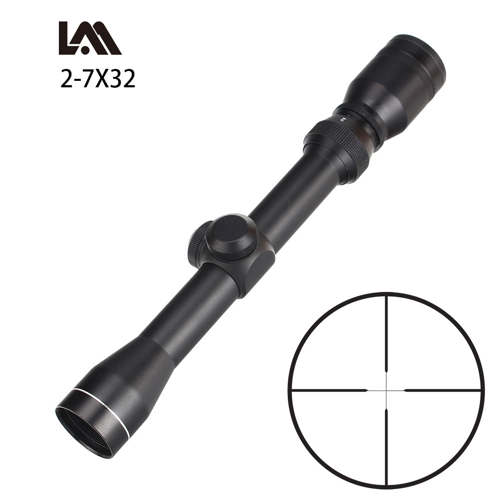Tactical 2-7x32 Long Eye Relief Scope+Short Scout Mount Combo For Hunting Rifle And Airsoft Drop Shipping