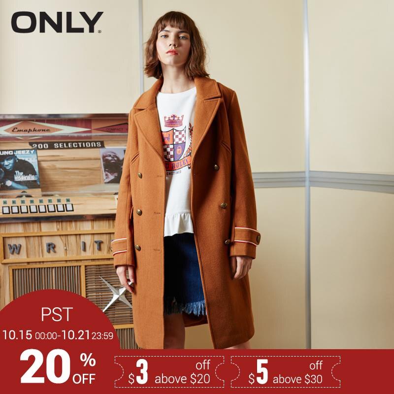 SEULE Marque 2018 NOUVEAU wool50 % de mode solide couleur double breasted manches longues femme manteaux veste manteau 117327501