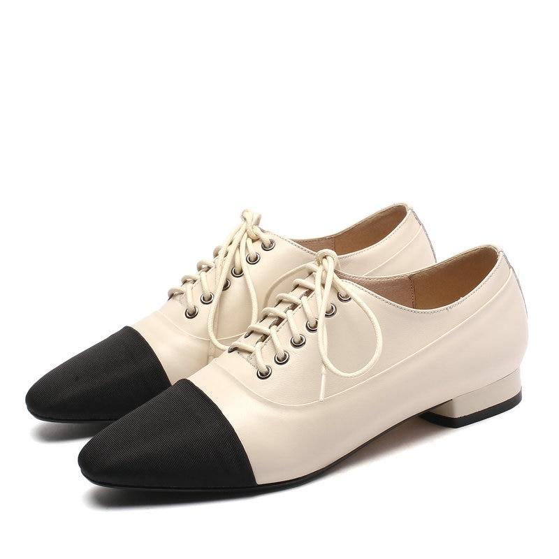 De noir Talons apricot Cuir forme Beige Eshtonshero Bas Chaussures Up En Mariage Pompes Lace Blanc Dames Femmes Bout Femme Plate Parti 9 Size3 Pointu Pu pSpg4Ivx