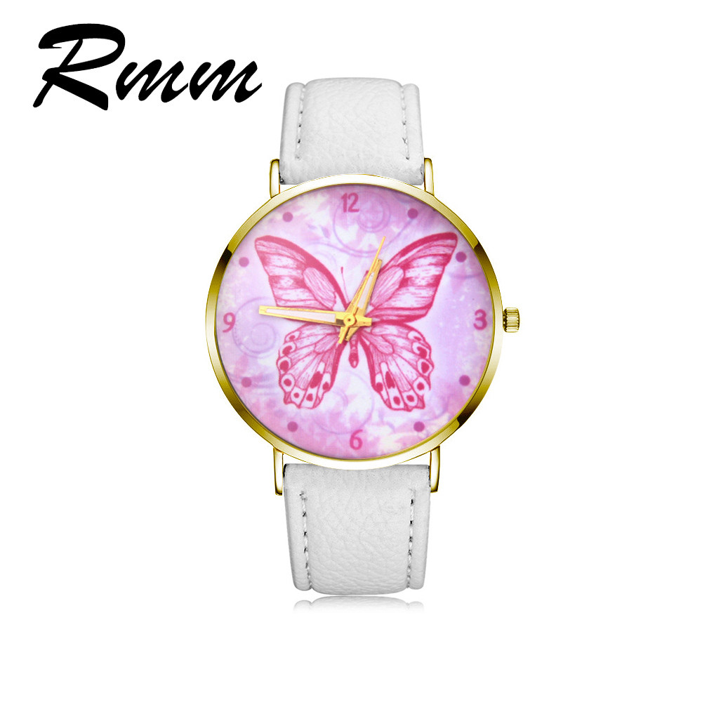 new exquisite beautiful pink butterfly woman quartz watch leather strap luxury brand dress ladies watch gift relogios feminino