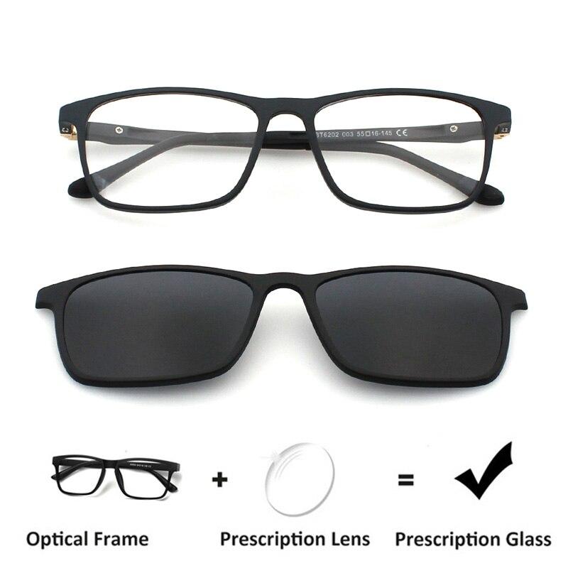 Zenettic Clip on Prescription Glasses Men Optical Myopia Anti Blue Ray Prescription Sunglasses Men Hyperopia Square