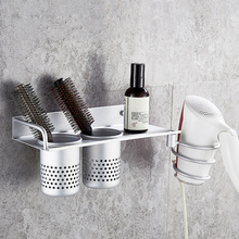 купить Multi-function Bathroom Hair Dryer Holder Wall Mounted Rack Space Aluminum Shelf Storage Organizer Hairdryer Holder дешево