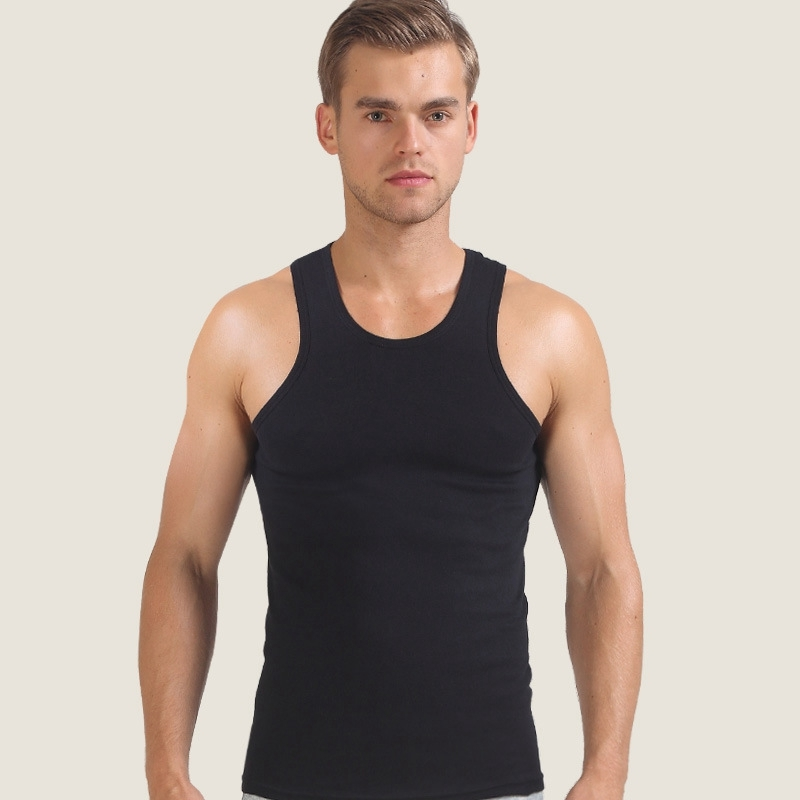Tank     Tops   Men Slim V-neck Vest Thin Solid Color Summer Sleeveless   Tops   Solid Color Cotton Shirt High Quality Newest