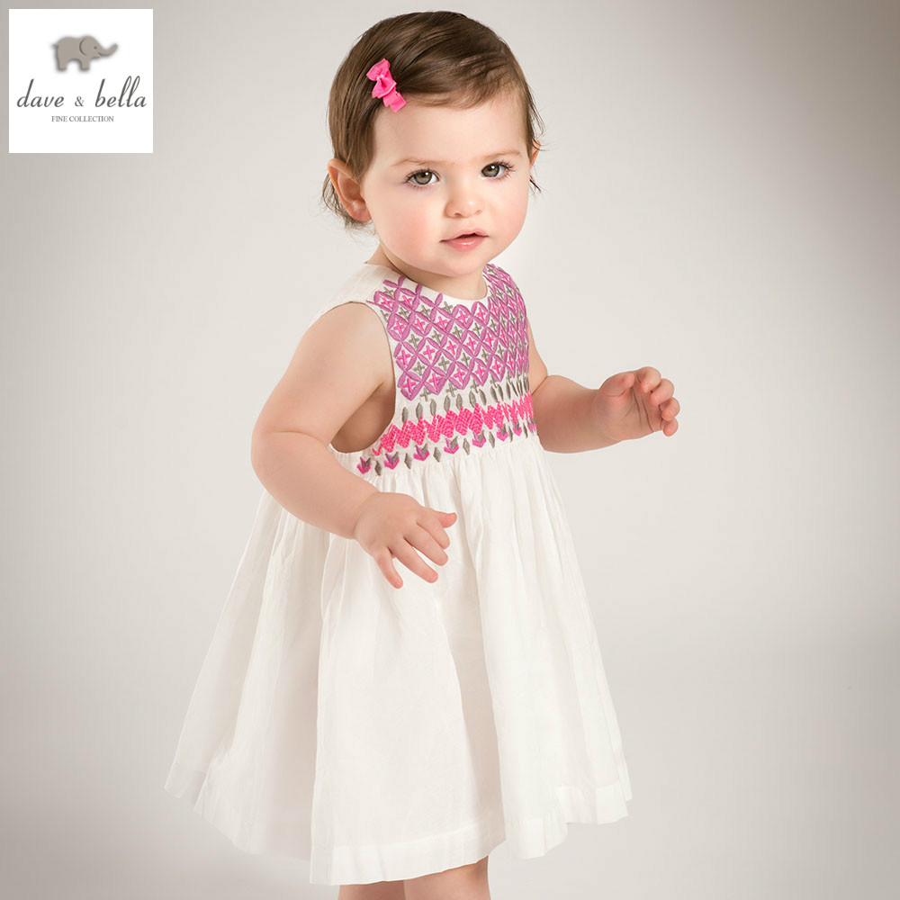 DB5015 dave bella summer baby girl embroidery dress baby wedding birthday clothes girls lolita costume children