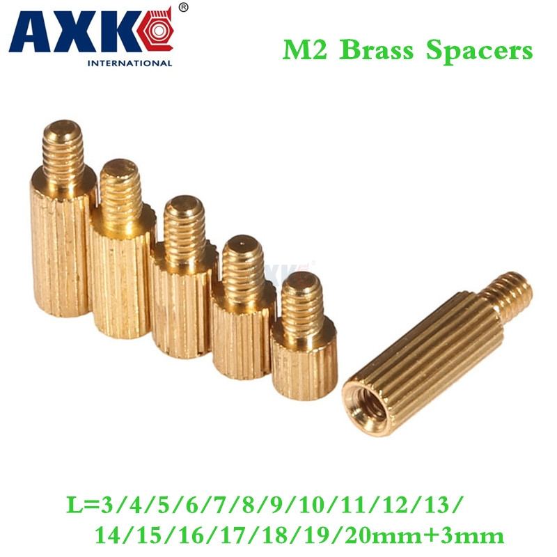 Axk 100pcs 2mm Thread <font><b>M2</b></font> <font><b>Brass</b></font> <font><b>Standoff</b></font> Spacer Male To Female <font><b>Brass</b></font> Spacing Screws Pillar <font><b>M2</b></font>*3/4/5/6/8/10/12/15/16/18/20+3mm image