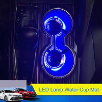 QHCP LED Lamp Water Cup Holder Pad Sticker Acrylic Ambient Light Storage Box Mat Decoration Accessories For Toyota Camry 2018