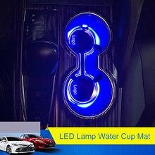 QHCP светодиодный держатель для стаканчиков воды стикер акриловый ящик для хранения окружающего света декоративный коврик аксессуары для Toyota Camry 2018