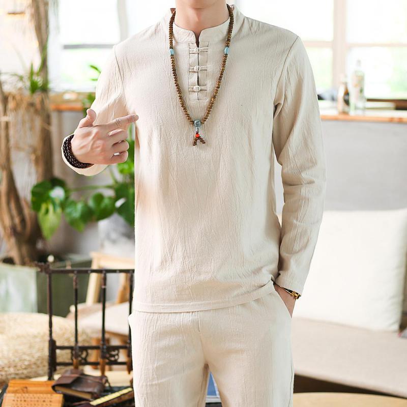Linen Shirts Men Tracksuit Pants Sets Two Piece Party Suit Mens Streetwear Fashion Sweat Pant 2020 Beach Clothes In Men's Sets