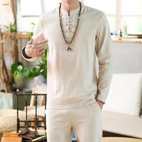 Linen Shirts Men Tracksuit Pants Sets Two Piece Party Suit Mens Streetwear Fashion Sweat Pant 2019 Beach Clothes in Men's Sets