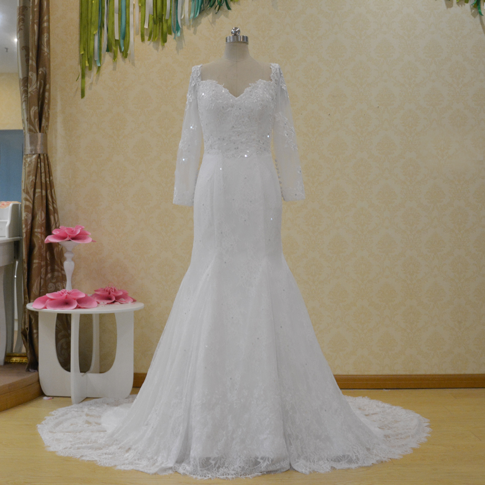 Musim Semi Putih Putri Duyung Renda Lengan Panjang Gaun Pengantin