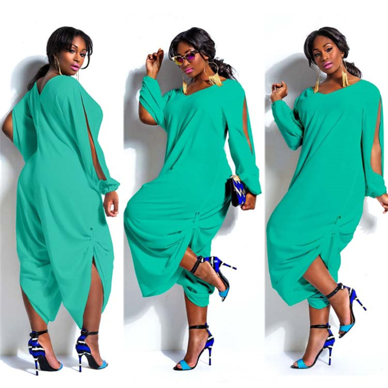 Women Loose Solid Color V Neck Long Sleeve Hollow Out Jumpsuit Playsuit
