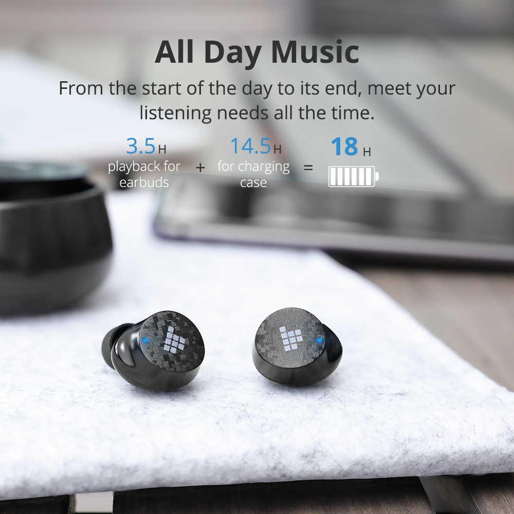 Tronsmart spunky pro fones de ouvido verdadeiro sem fio bluetooth 5.0 fones de ouvido com assistente de voz, graves profundos, carregamento sem fio