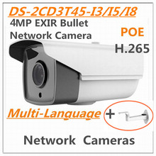 "Multi language DS-2CD3T45-I5 4MP 1/3 ""CMOS IR ICR EXIR Bullet Red cámara IP Cámara H.265 full day & night HD en tiempo real POE"