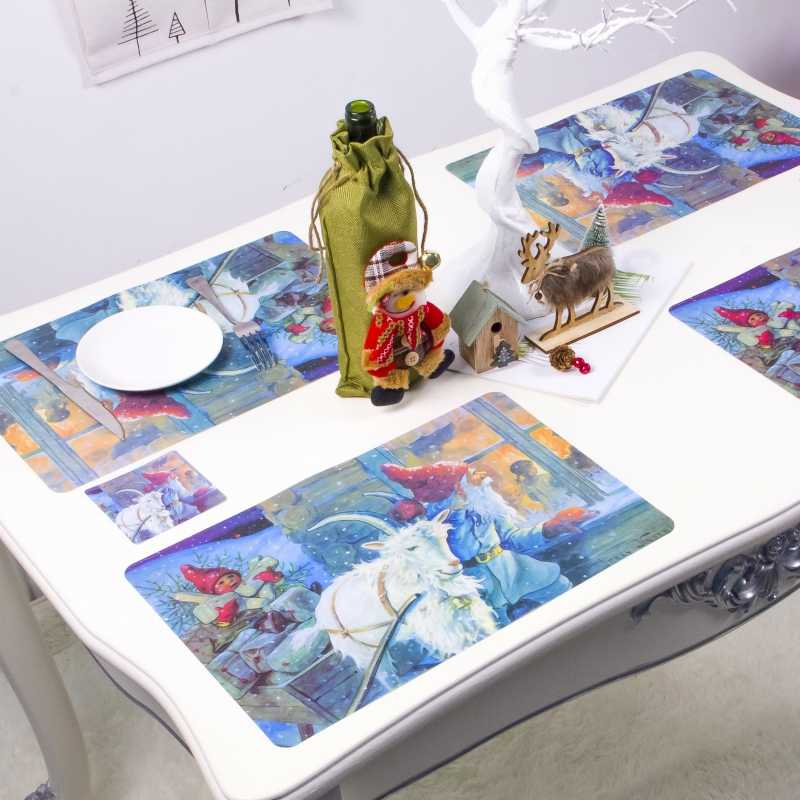 12 шт. 6 столовых приборов и 6 подставок Рождественская салфетка под приборы набор зимний коврик для кухонного стола праздничные украшения для дома Onderlegger