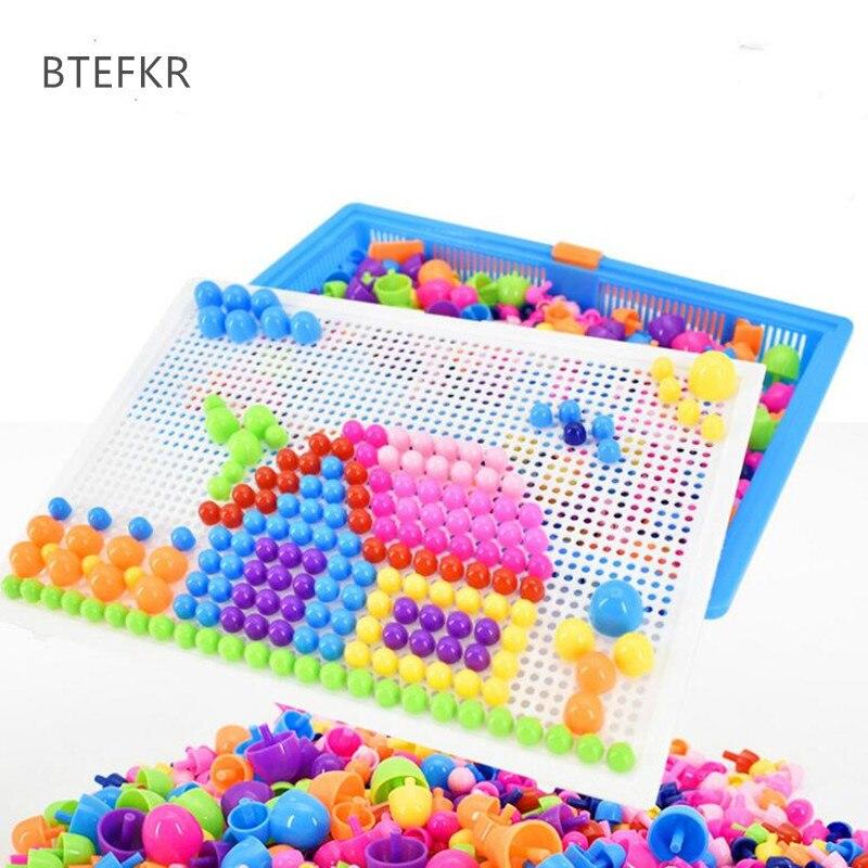 Gehoorzaam Creatieve 296 Stks Paddestoel Nagel Intelligente 3d Puzzel Educatief Speelgoed Games Diy Paddestoel Nail Plastic Flashboard Kids Toys Met De Beste Service