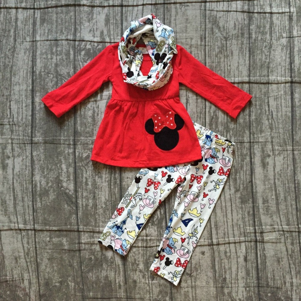 все цены на baby girls winter OUTFITS girls 3 pieces with scarf set baby girls red top witth long pants outfits girls party boutique clothes онлайн