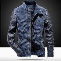 MYAZHOU 2019 Winter Men's Jacket, Fashion PU Leather Denim Patchwork Jacket , Durable Plus Velvet Warm Men's Jacket Leather